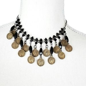 Jewelry - Beaded and Faux Antique Coin Choker Necklace